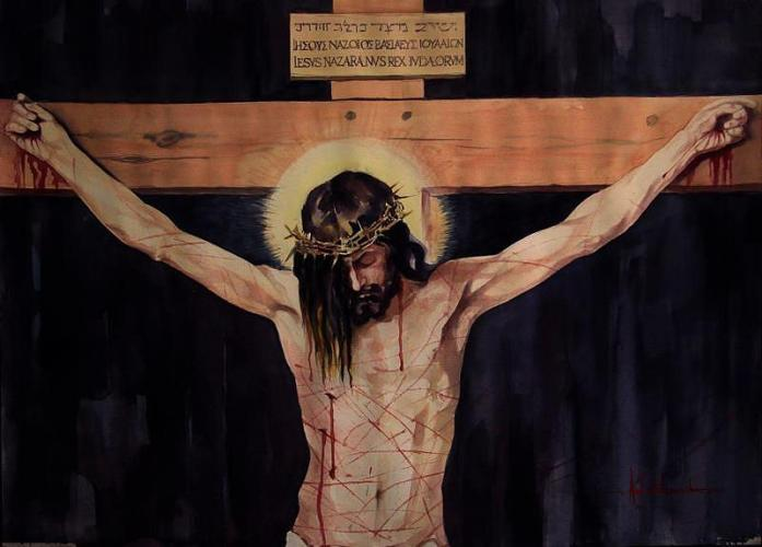 """The Crucifixion,"" a painting by Ashok Karnik"
