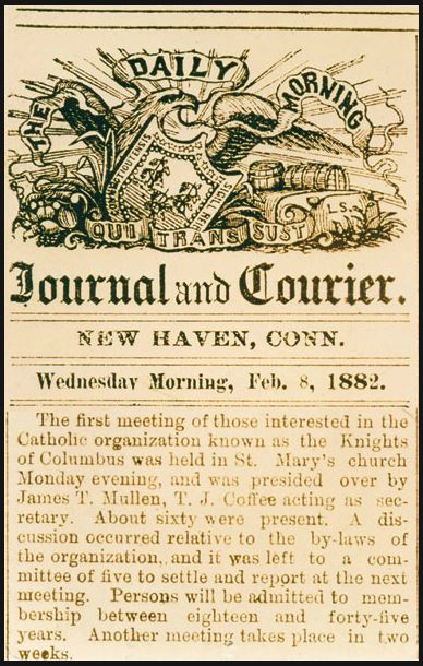 The first meeting for the Knights of Columbus advertised in 1882.