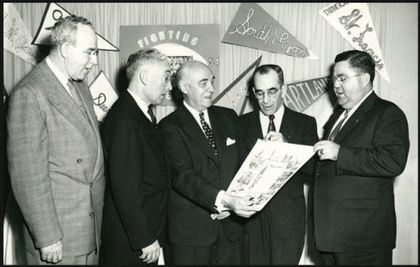 """U.S. Rep Louis Rabaut (D-Mich) presents a scroll with the words """"under God"""" to KofC Michigan State Deputy Walter Graveline"""