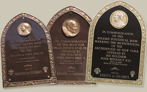 Commemorative Placards for Papal Masses at the Yankee Stadium